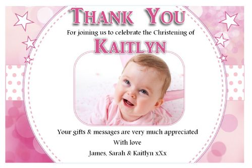 10 Personalised Girls Christening / Baptism Thankyou PHOTO Cards N223